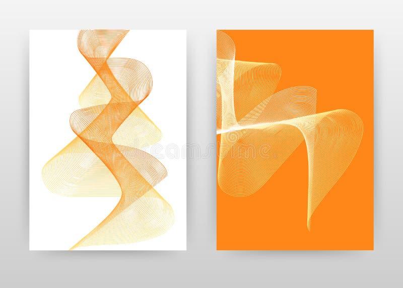 Πορτοκαλί κίτρινο κυματισμένο σχέδιο σύστασης γραμμών για τη ετήσια έκθεση, φυλλάδιο, ιπτάμενο, αφίσα Κατασκευασμένο διάνυσμα υπο απεικόνιση αποθεμάτων