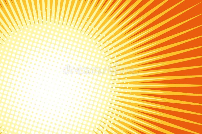 Πορτοκαλί κίτρινο λαϊκό υπόβαθρο ήλιων τέχνης ελεύθερη απεικόνιση δικαιώματος