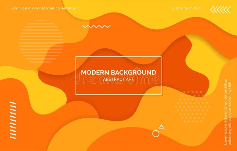 Πορτοκαλί και κίτρινο υπόβαθρο κυμάτων, έμβλημα, σχεδιάγραμμα με τα διαστημικά, αφηρημένα στοιχεία κειμένων απεικόνιση αποθεμάτων