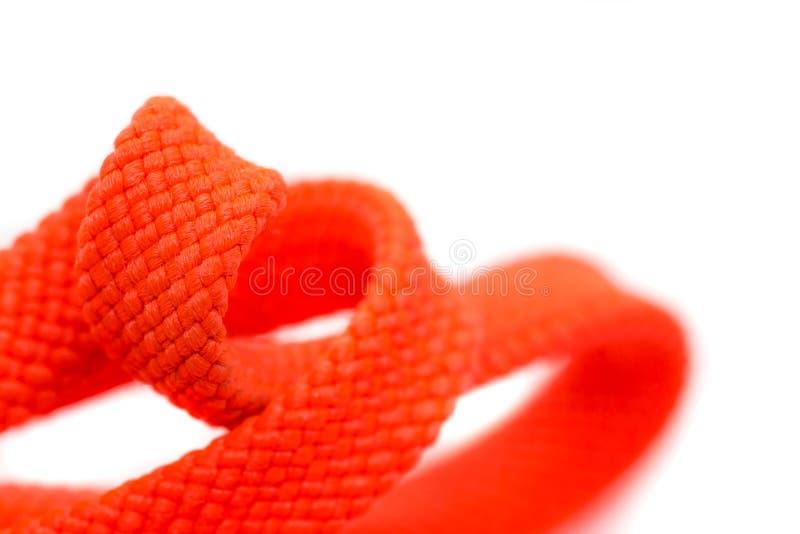 Πορτοκαλί κορδόνια, κοντά, απομονωμένα σε λευκό φόντο στοκ εικόνα με δικαίωμα ελεύθερης χρήσης