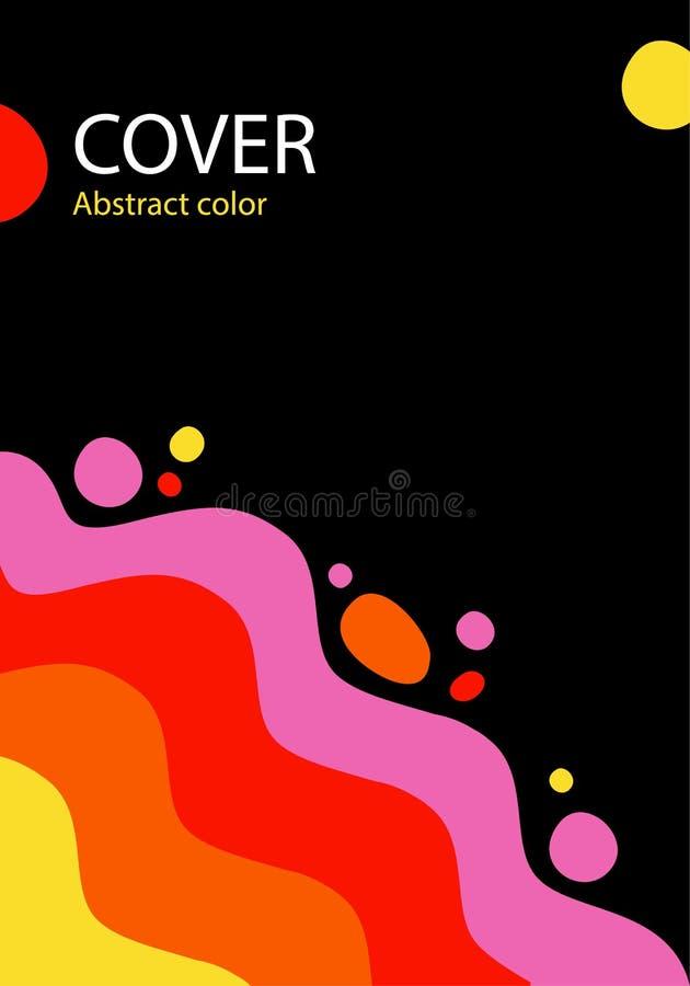 Πορτοκαλί, κόκκινο, ρόδινο χρώμα κυμάτων που ανατρέπονται, αφηρημένο διάνυσμα illustrat ελεύθερη απεικόνιση δικαιώματος