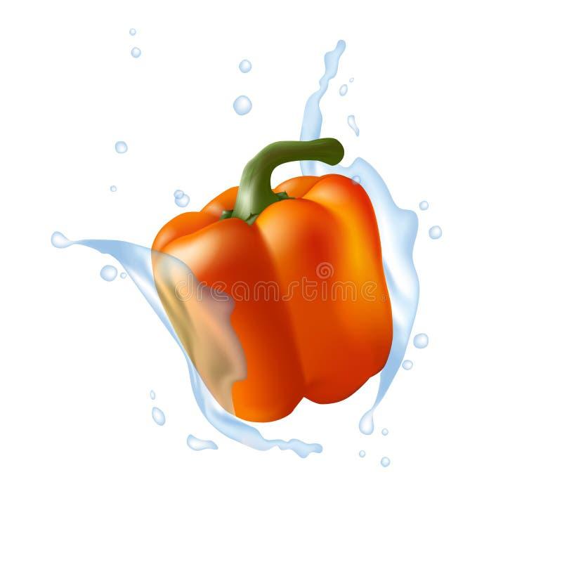 Πορτοκαλί πιπέρι κουδουνιών η λάμψη παγωμένη σημαίνει το καταβρέχοντας ύδωρ μετακίνησης Ρεαλιστικό τρισδιάστατο πιπέρι illustr απεικόνιση αποθεμάτων