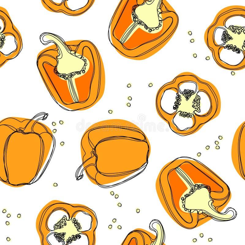 πορτοκαλί πιπέρι Συρμένο χέρι διανυσματικό άνευ ραφής σχέδιο με την πάπρικα απεικόνιση αποθεμάτων
