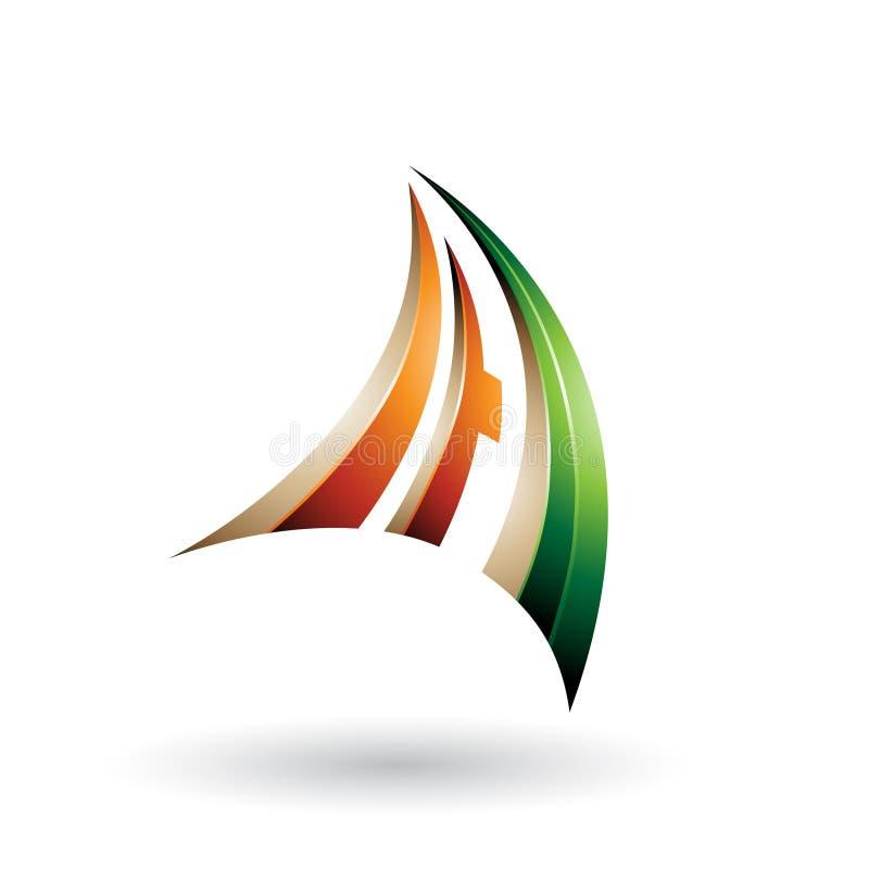 Πορτοκαλί πράσινο και μπεζ τρισδιάστατο δυναμικό πετώντας γράμμα Α που απομονώνεται σε ένα άσπρο υπόβαθρο ελεύθερη απεικόνιση δικαιώματος