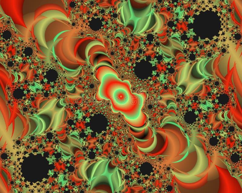 Πορτοκαλί πράσινο μαύρο φωτεινό αφηρημένο fractal αφηρημένο υπόβαθρο, flowery σύσταση απεικόνιση αποθεμάτων