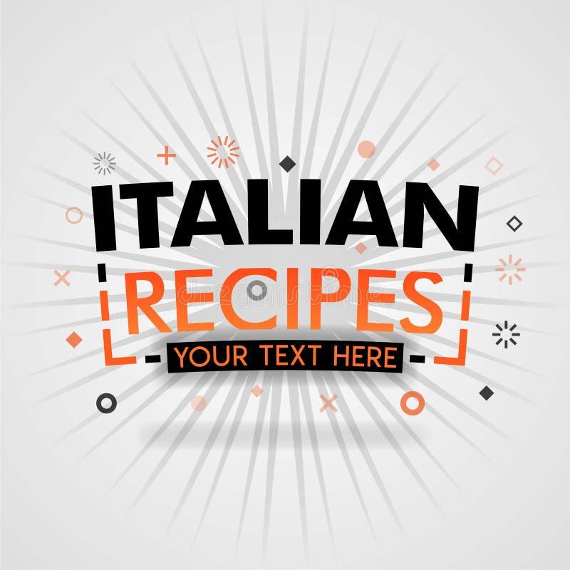 Πορτοκαλί πρότυπο λογότυπων για τις ιταλικές συνταγές για την προώθηση, διαφήμιση, μάρκετινγκ Μπορέστε να είστε για την κάλυψη εφ ελεύθερη απεικόνιση δικαιώματος