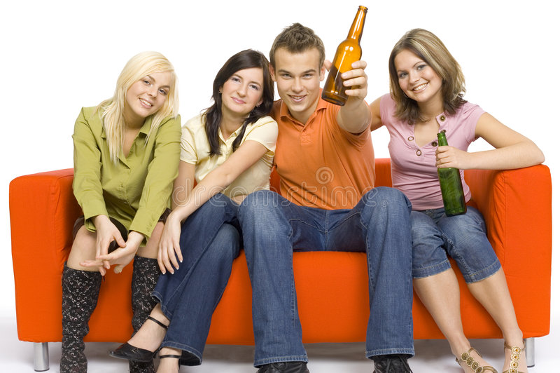 πορτοκαλί συμβαλλόμενο μέρος καναπέδων στοκ εικόνες με δικαίωμα ελεύθερης χρήσης