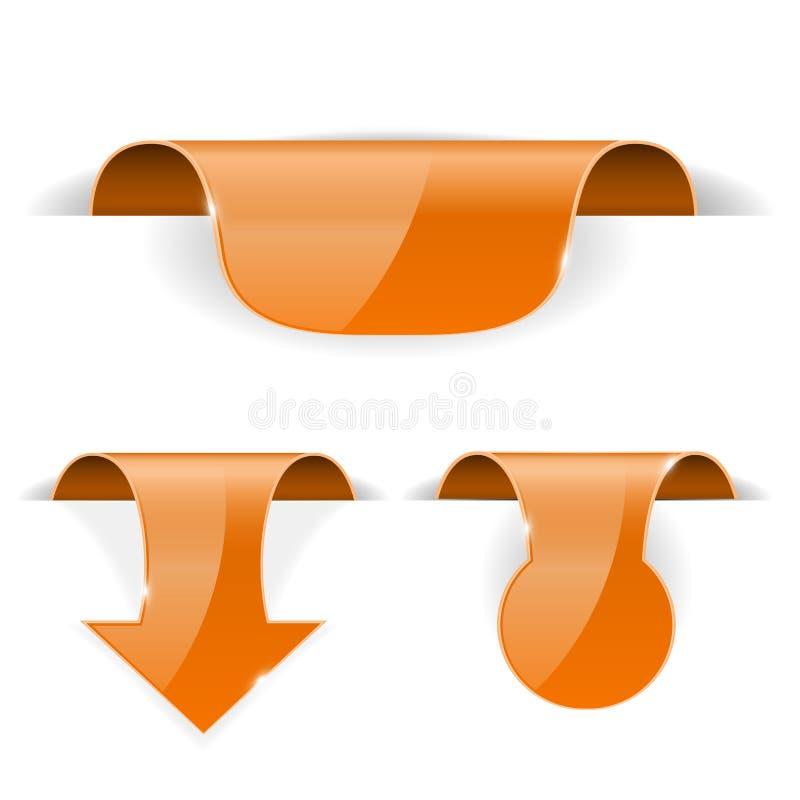 Πορτοκαλί σύνολο τρισδιάστατων ετικετών αυτοκόλλητων ετικεττών με τη διαφανή σκιά απεικόνιση αποθεμάτων
