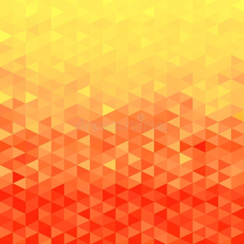 Πορτοκαλί υπόβαθρο κρυστάλλου Πρότυπο τριγώνων Πορτοκαλιά ανασκόπηση ελεύθερη απεικόνιση δικαιώματος