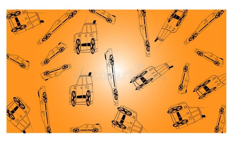 Πορτοκαλί υπόβαθρο με πολλούς από τα οδικά αυτοκίνητα - διανυσματική απεικόνιση διανυσματική απεικόνιση