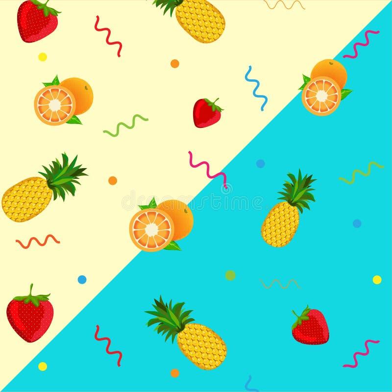Πορτοκαλί υπόβαθρο σχεδίων ανανά φραουλών Διανυσματικά φρούτα ελεύθερη απεικόνιση δικαιώματος