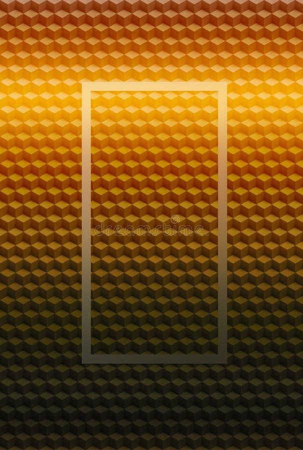 Πορτοκαλί χρυσό γεωμετρικό υπόβαθρο σχεδίων κύβων τρισδιάστατο, γραφικός φραγμός απεικόνιση αποθεμάτων