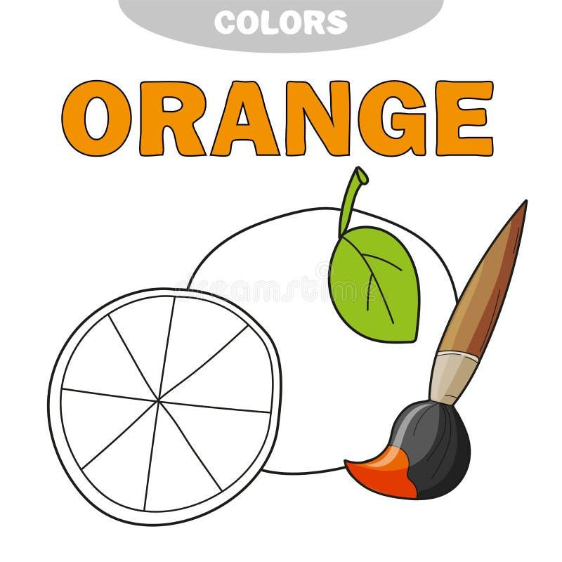 Πορτοκαλί χρωματίζοντας βιβλίο κινούμενων σχεδίων Διανυσματική απεικόνιση για τα παιδιά απεικόνιση αποθεμάτων