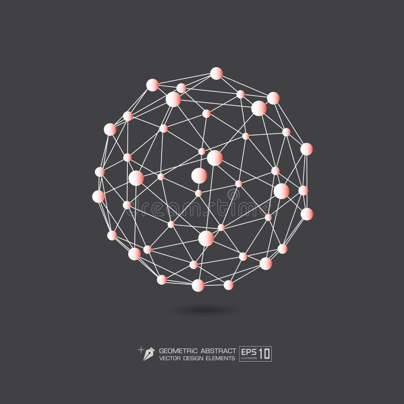 Πορτοκαλί χρώμα δομών μορίων στην γκρίζα απεικόνιση σχήματος υποβάθρου διανυσματική EPS10 διανυσματική απεικόνιση