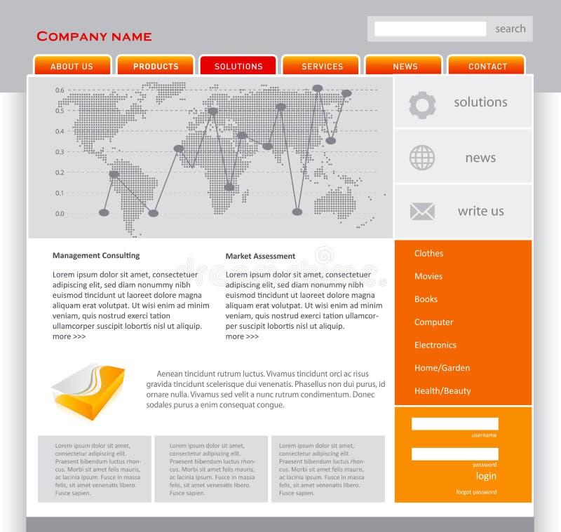 πορτοκαλί webpage προτύπων ελεύθερη απεικόνιση δικαιώματος
