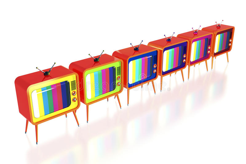 πορτοκαλιά αναδρομική TV τ&o απεικόνιση αποθεμάτων