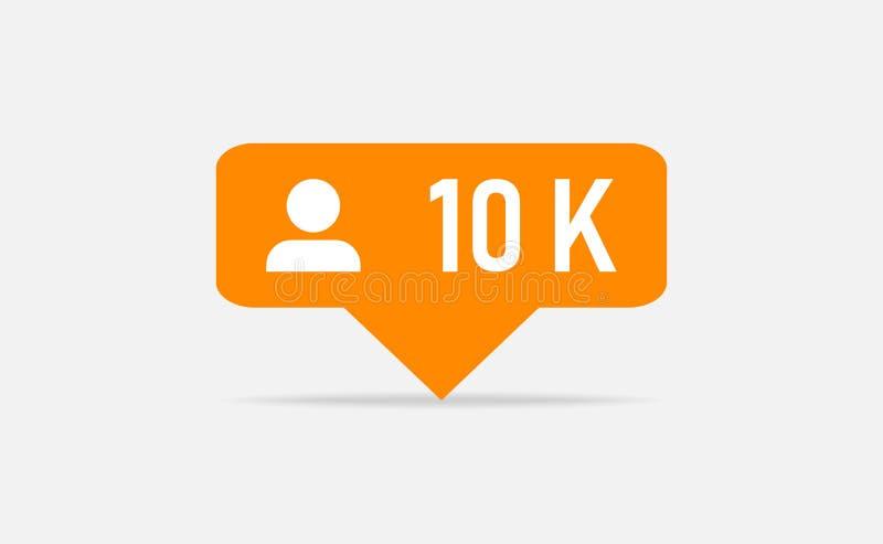Πορτοκαλιά ανακοίνωση οπαδών εικονιδίων 10k Insta οπαδών συνομιλίες έννοιας επικοινωνίας δεσμών που έχουν τους ανθρώπους μέσων κο διανυσματική απεικόνιση
