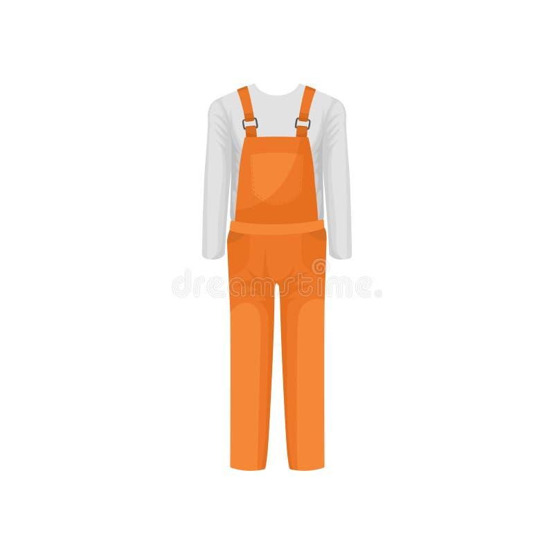 Πορτοκαλιά αρσενική γενική και άσπρη μπλούζα μακρύς-μανικιών Λειτουργώντας ενδύματα του οικοδόμου Θέμα Workwear Επίπεδο διανυσματ διανυσματική απεικόνιση