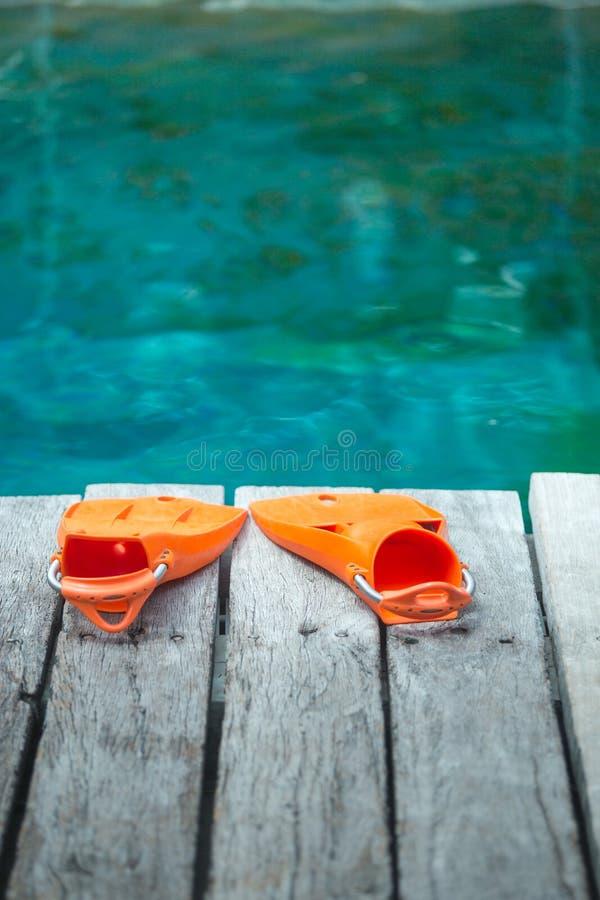 Πορτοκαλιά βατραχοπέδιλα για την κατάδυση στοκ φωτογραφίες με δικαίωμα ελεύθερης χρήσης