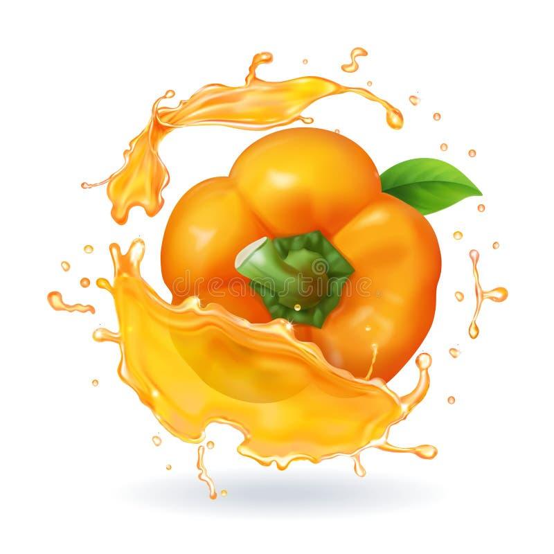 Πορτοκαλιά βουλγαρική ρεαλιστική τρισδιάστατη διανυσματική απεικόνιση πιπεριών απεικόνιση αποθεμάτων