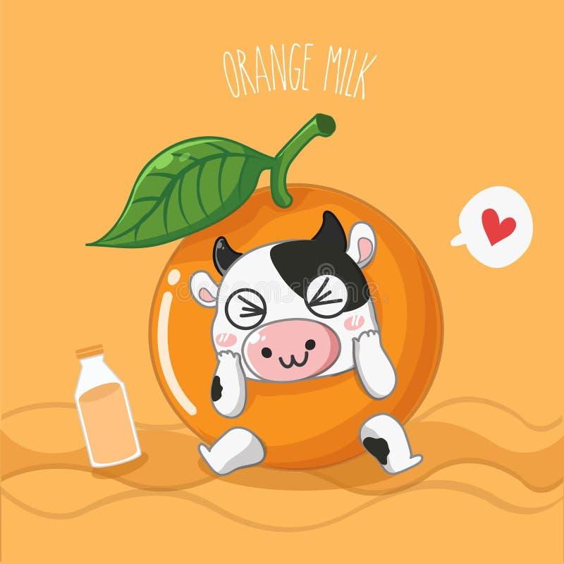 Πορτοκαλιά γαλακτοκομική αγελάδα γάλακτος πολύ χαριτωμένη διανυσματική απεικόνιση
