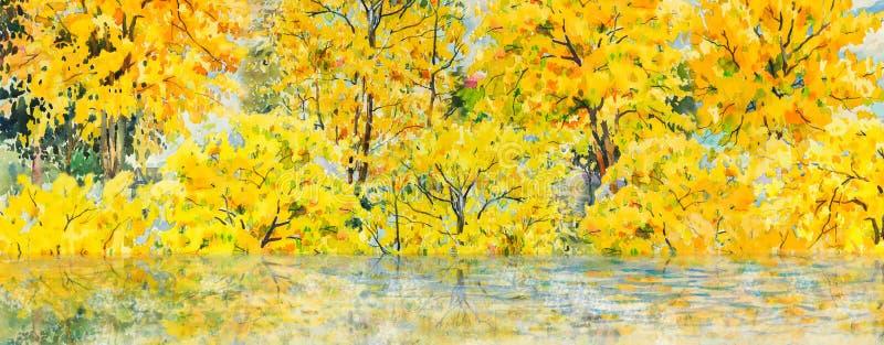 πορτοκαλιά δέντρα λιβαδιών φύλλων σημύδων φθινοπώρου Χρωματίζοντας τοπίο watercolor διανυσματική απεικόνιση