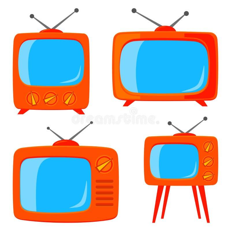 Πορτοκαλιά διάφορη αναδρομική συσκευή τηλεόρασης κινούμενων σχεδίων ελεύθερη απεικόνιση δικαιώματος