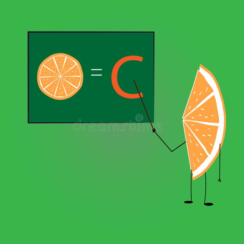 Πορτοκαλιά διδασκαλία για το διάνυσμα βιταμίνης C απεικόνιση αποθεμάτων
