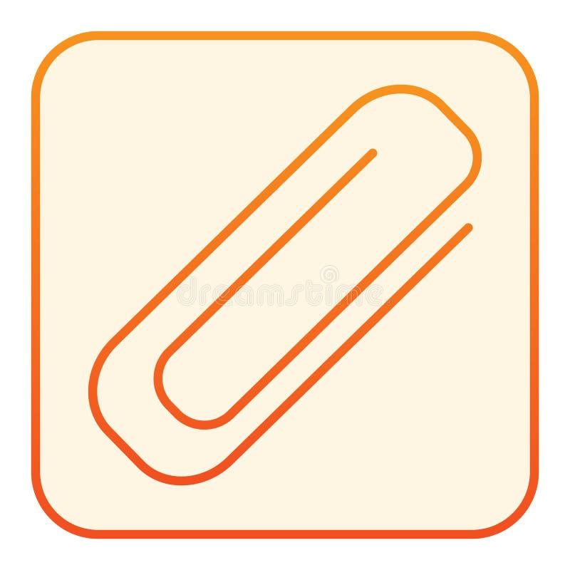 Επίπεδο εικονίδιο συνδετήρων Πορτοκαλιά εικονίδια Paperclip στο καθιερώνον τη μόδα επίπεδο ύφος Clinch σχέδιο ύφους κλίσης, που σ απεικόνιση αποθεμάτων
