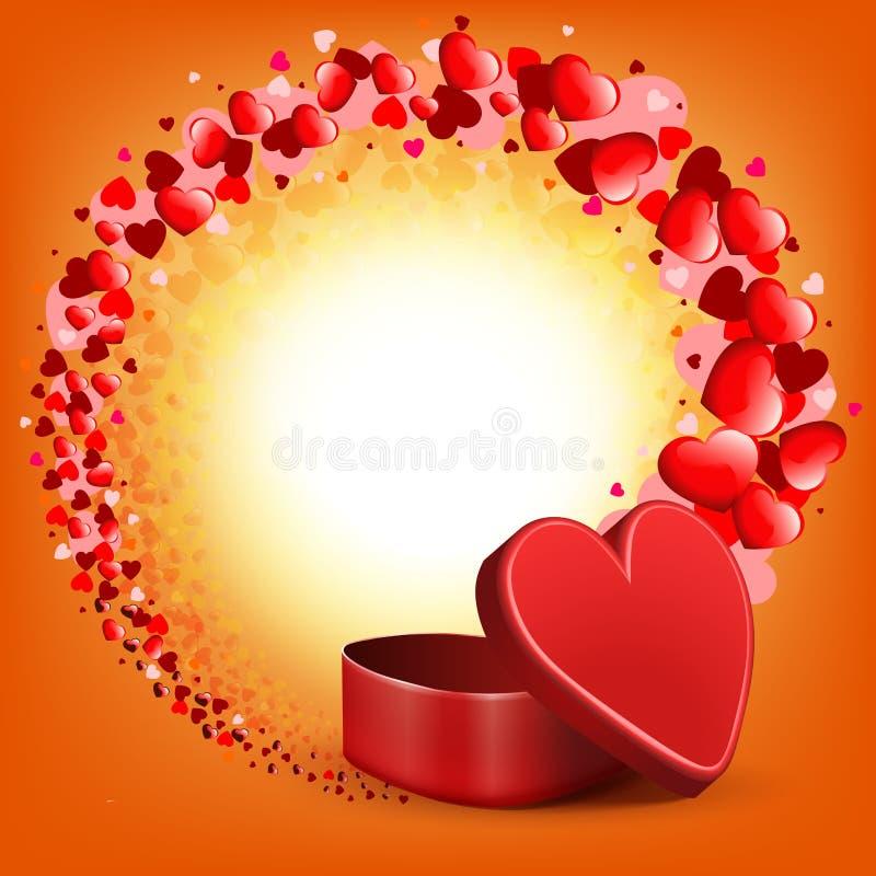 Πορτοκαλιά ελαφριά σύνθεση με μια κόκκινη κασετίνα και ένα στρογγυλό στεφάνι πολλών καρδιών απεικόνιση αποθεμάτων