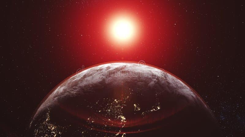 Πορτοκαλιά επιπλέοντα σώματα ήλιων γραφικών παραστάσεων κινήσεων πέρα από τον ορίζοντα πλανήτη Γη διανυσματική απεικόνιση