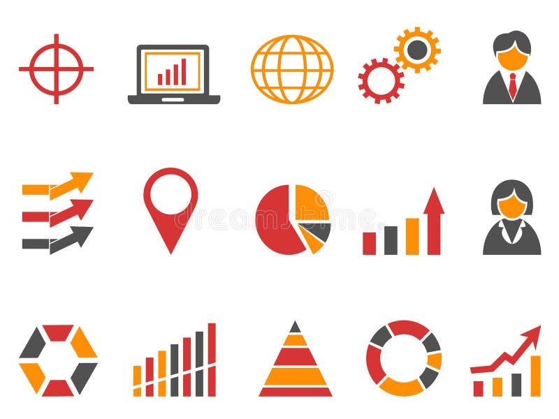 Πορτοκαλιά επιχειρησιακά infographic εικονίδια χρώματος καθορισμένα ελεύθερη απεικόνιση δικαιώματος