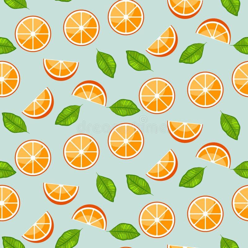 Πορτοκαλιά εσπεριδοειδή με τα πράσινα φύλλα στο μπλε υπόβαθρο Juicy άνευ ραφής διανυσματικό σχέδιο ελεύθερη απεικόνιση δικαιώματος