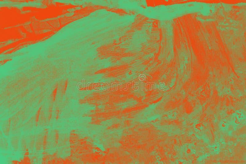 Πορτοκαλιά κίτρινη και πράσινη σύσταση υποβάθρου θερινών χρωμάτων φθινοπώρου με τα κτυπήματα βουρτσών grunge διανυσματική απεικόνιση