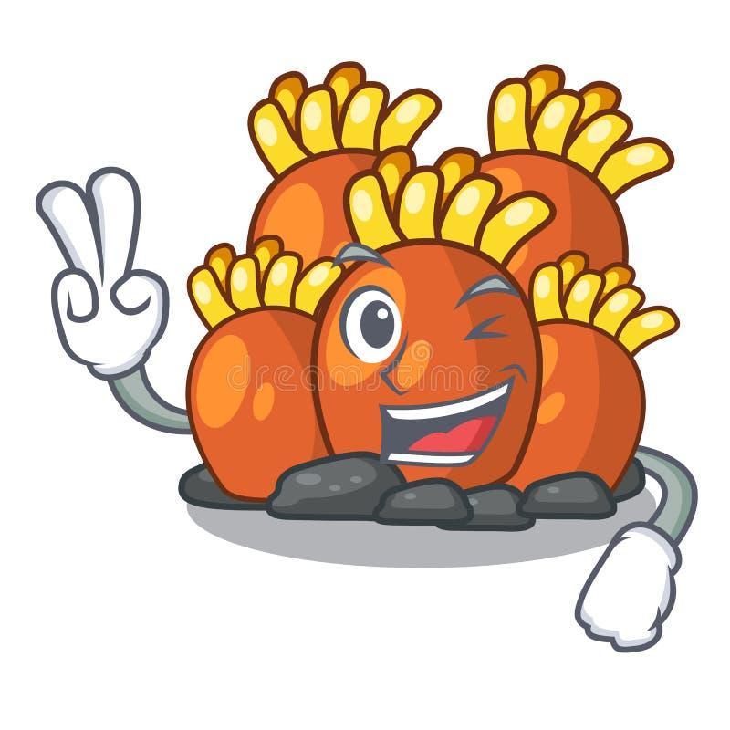 Πορτοκαλιά κοραλλιογενής ύφαλος δύο δάχτυλων που απομονώνεται με τη μασκότ απεικόνιση αποθεμάτων