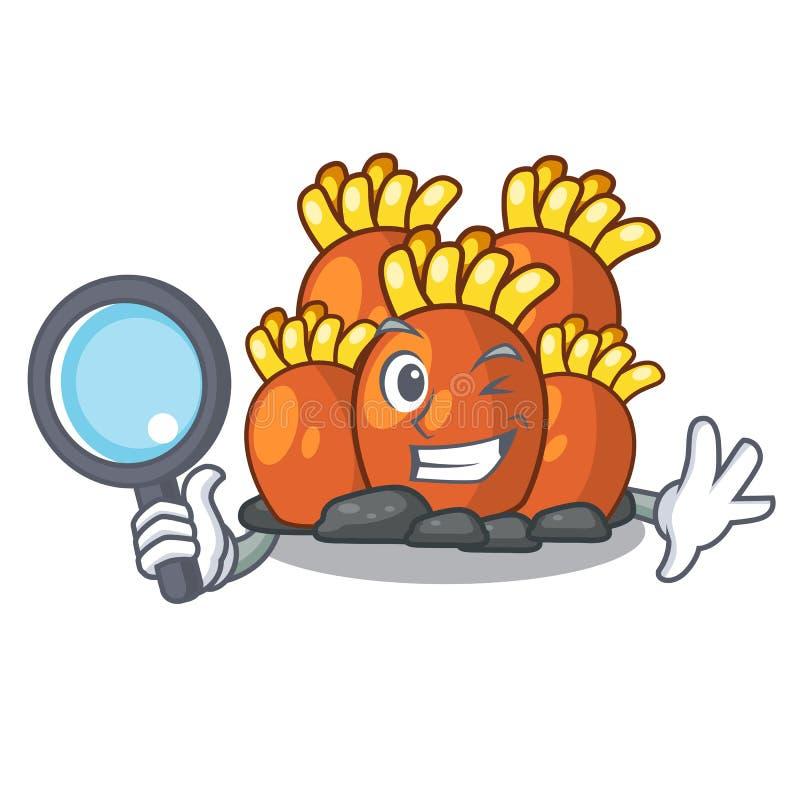 Πορτοκαλιά κοραλλιογενής ύφαλος ιδιωτικών αστυνομικών που απομονώνεται με τη μασκότ διανυσματική απεικόνιση