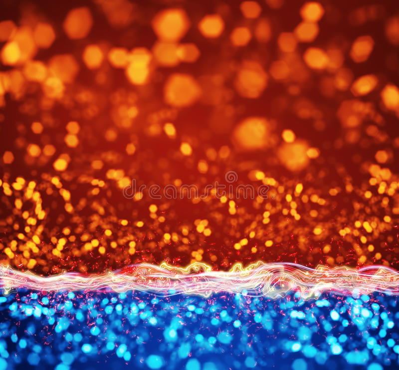 Πορτοκαλιά μπλε αφηρημένη ανασκόπηση φω'των στοκ εικόνα
