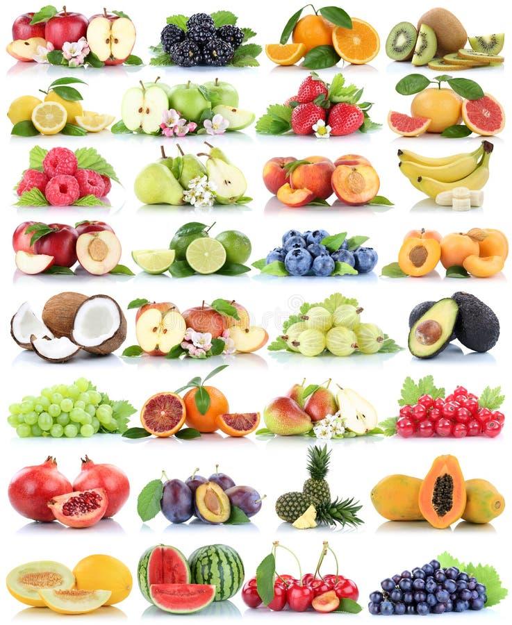 Πορτοκαλιά σταφύλια αχλαδιών πεπονιών φραουλών μπανανών μήλων μήλων συλλογής φρούτων φρούτων οργανικά που απομονώνει στο λευκό στοκ εικόνες