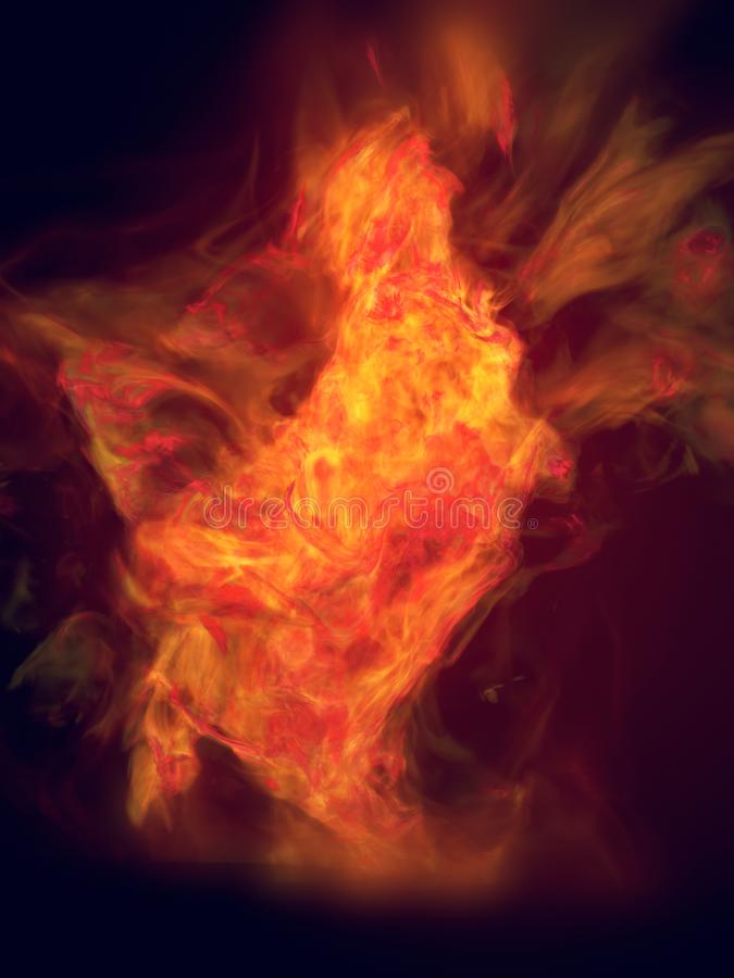 Πορτοκαλιά ταραχώδης φλόγα που απομονώνεται στο σκοτεινό υπόβαθρο τρισδιάστατη απόδοση ελεύθερη απεικόνιση δικαιώματος
