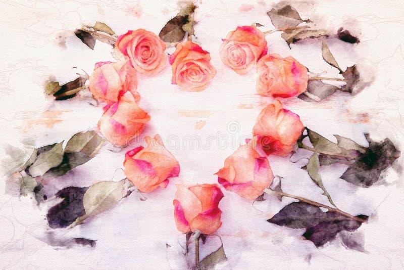 Πορτοκαλιά τριαντάφυλλα σε μια μορφή της καρδιάς ελεύθερη απεικόνιση δικαιώματος