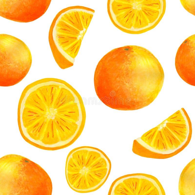 Πορτοκαλιά φρούτα Watercolor και άνευ ραφής σχέδιο φετών στοκ εικόνες