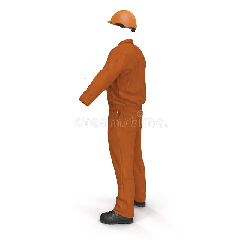 Πορτοκαλιές μακριές φόρμες μανικιών οικοδόμων ` s με Hardhat απεικόνιση, που απομονώνεται τρισδιάστατη, στο λευκό απεικόνιση αποθεμάτων