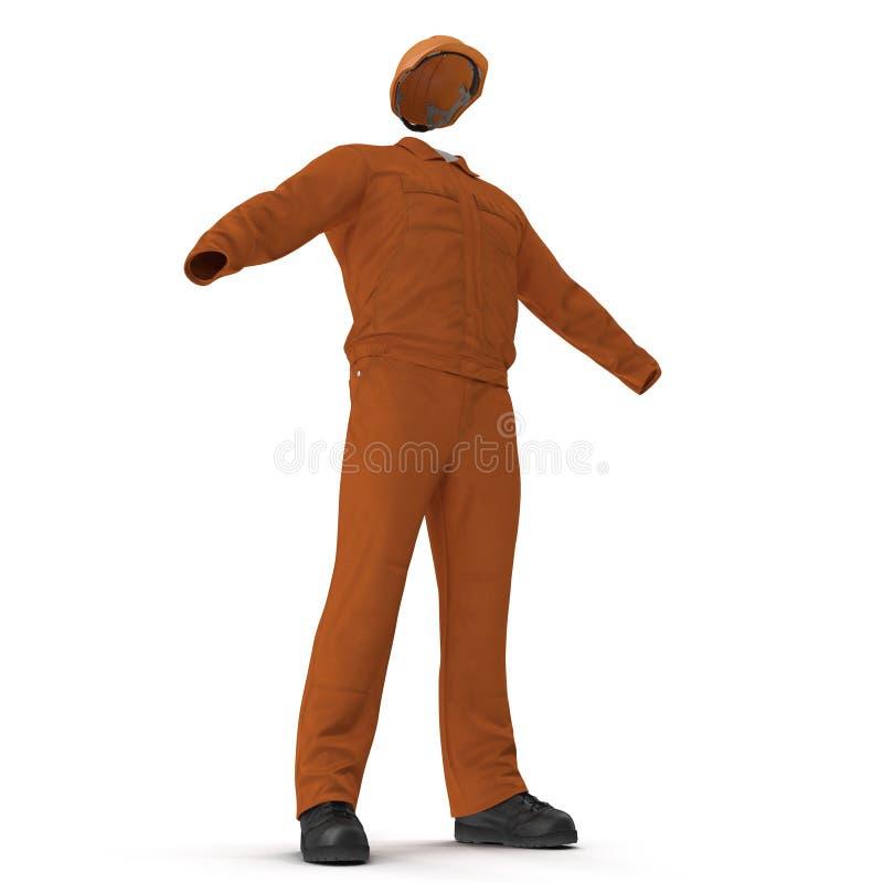 Πορτοκαλιές μακριές φόρμες μανικιών οικοδόμων ` s με Hardhat απεικόνιση, που απομονώνεται τρισδιάστατη, στο λευκό διανυσματική απεικόνιση