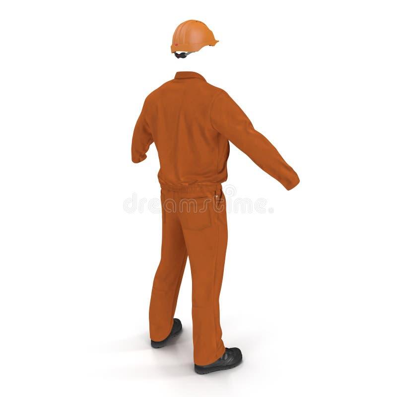 Πορτοκαλιές μακριές φόρμες μανικιών οικοδόμων ` s με Hardhat απεικόνιση, που απομονώνεται τρισδιάστατη, στο λευκό ελεύθερη απεικόνιση δικαιώματος