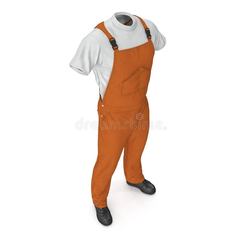 Πορτοκαλιές φόρμες Workwear που απομονώνονται στο άσπρο υπόβαθρο τρισδιάστατη απεικόνιση διανυσματική απεικόνιση