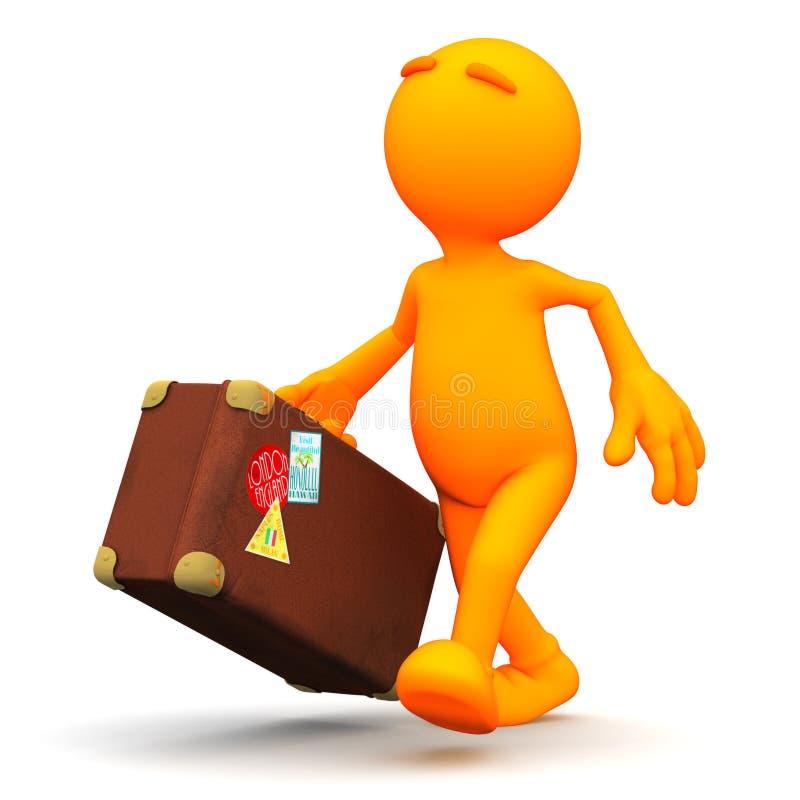 Πορτοκαλής τύπος: Περπάτημα με τη βαλίτσα διανυσματική απεικόνιση