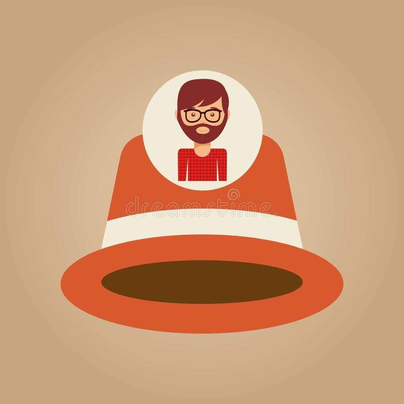 Πορτοκαλί άτομο καπέλων Hipster γενειοφόρο απεικόνιση αποθεμάτων