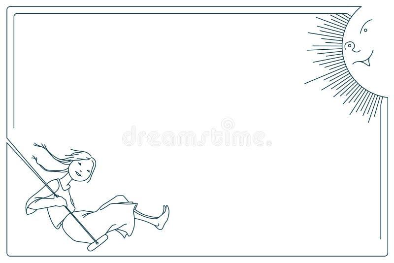 πορτοκαλί απόθεμα απεικόνισης ανασκόπησης φωτεινό Γραμμή γραφική Χαριτωμένο μικρό κορίτσι σε μια ταλάντευση χαμογελώντας ήλιος απεικόνιση αποθεμάτων