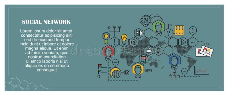 πορτοκαλί απόθεμα απεικόνισης ανασκόπησης φωτεινό Επίπεδος infographic τρισδιάστατη εικόνα δικτύων που καθίσταται κοινωνική ελεύθερη απεικόνιση δικαιώματος