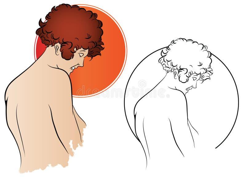 πορτοκαλί απόθεμα απεικόνισης ανασκόπησης φωτεινό Οι ετικέτες σχεδίου ταυτότητας, κολλούν και κ.λπ. Πορτρέτο μιας γυναίκας απεικόνιση αποθεμάτων